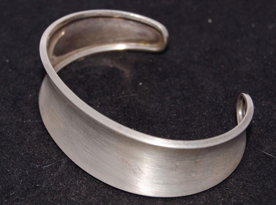 Vintage CII Mexico MODERNIST 925 Sterling Silver CONCAVE Cuff BRACELET 18g