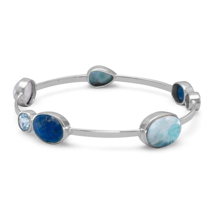 Blue Topaz, Larimar, Aveniturine & Rainbow Moonstone Sterling Silver Bangle