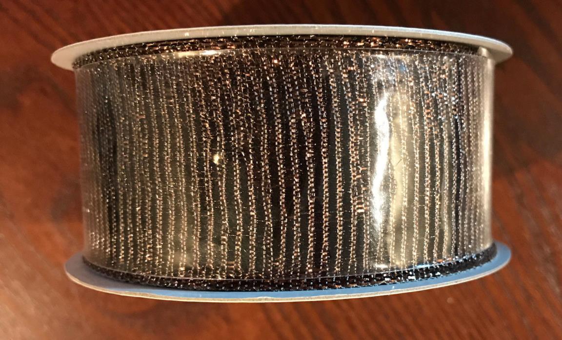Brown Metallic Wire Ribbon 1.5