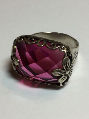 Silpada Sterling Silver Floral  Berry-Licious Pink Stone Ring Size 10