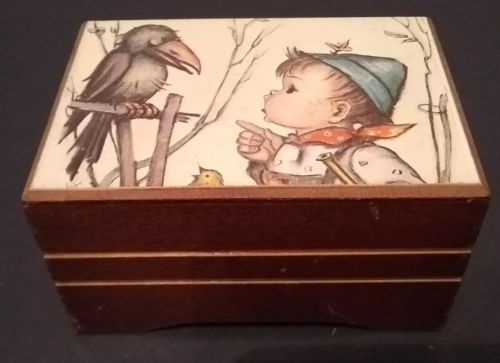 Vintage Reuge Wood Music Box Sainte Croix Swiss Musical Movement Edelweiss Works