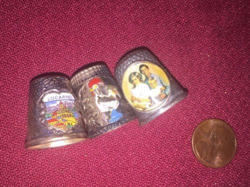 Thimble Vintage 3 Enamels Locarno Rooster Princes Diana