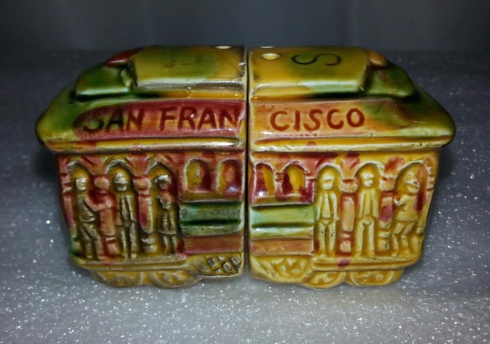 San Francisco SNCO Trolley Car Souvenir Salt & Pepper Shaker Set JAPAN