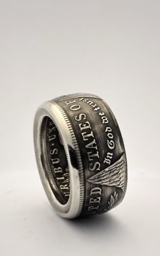 Handmade High Quality Morgan Dollar Coin Ring Size 8-15 Mens Ring 90% Silver