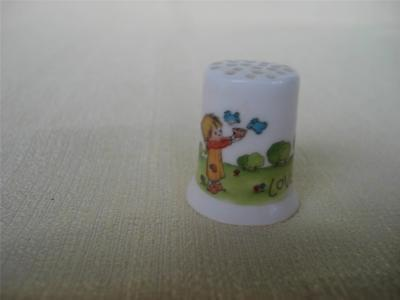 Vintage Thimble Betsey Clark Hallmark 1981 LOVE IS SHARING Bone China