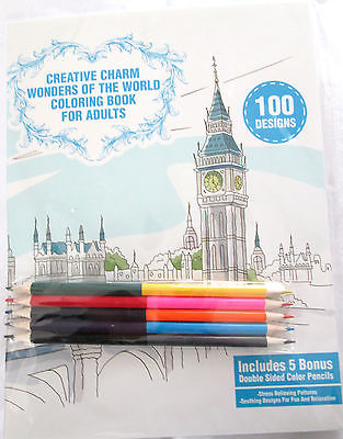 CREATIVE CHARM WONDERS OF THE WORLD ADULT COLORING BOOK with 5 PENCILS - NEW