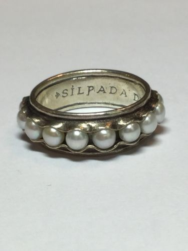 Silpada Sterling Silver Nestled Pearl Band Ring Size 10