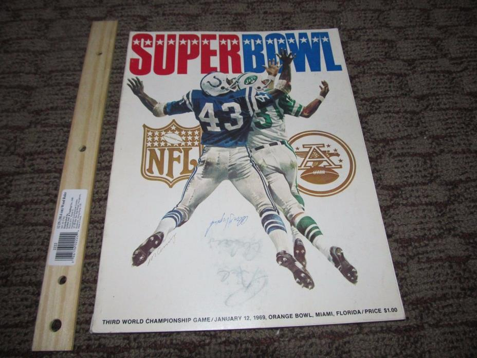 Super Bowl 3 III Program Signed Alan Shepard NFL Jets Colts Astronaut New York