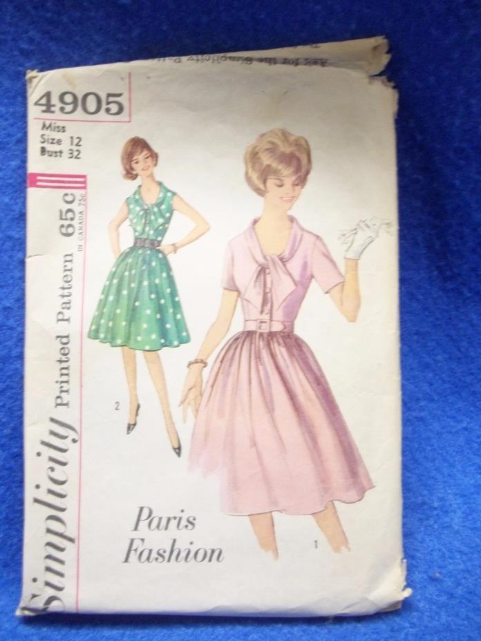 Vintage 1960s Simplicity 4905 Paris Fashion Full Skirt Dress Pattern sz 12 Uncut