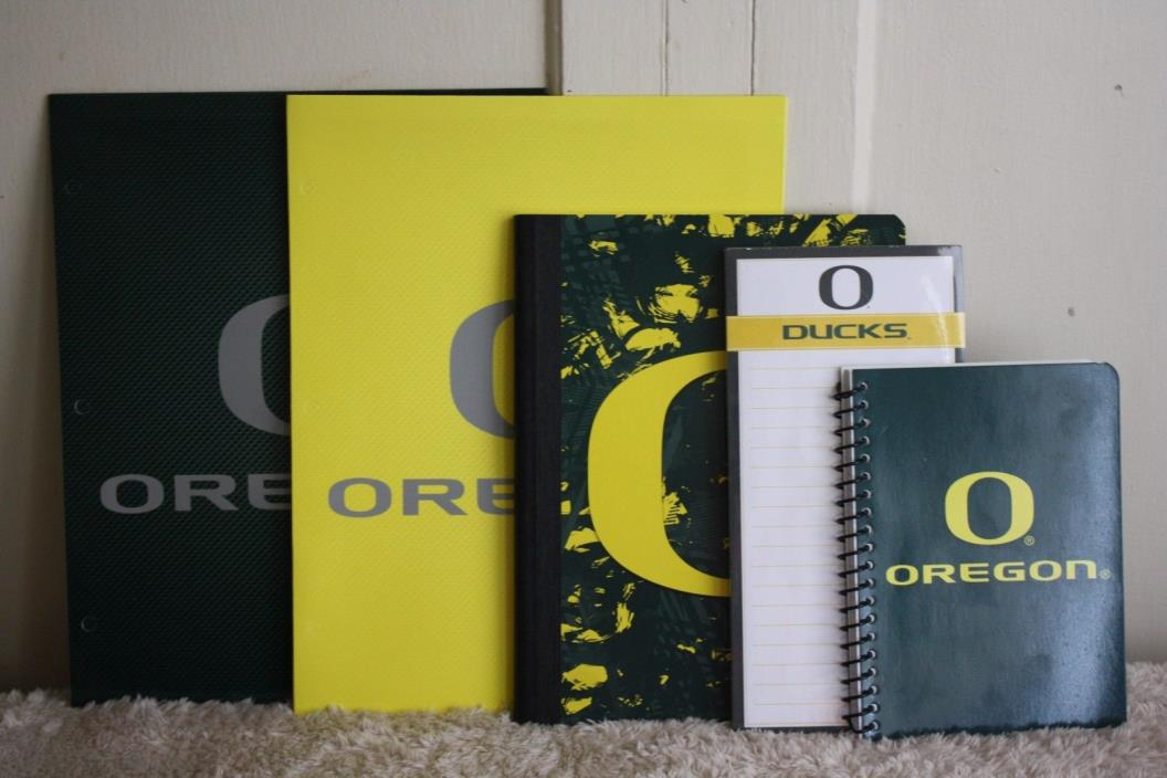 Back to School Oregon Ducks College Folders Notebooks Green and Yellow