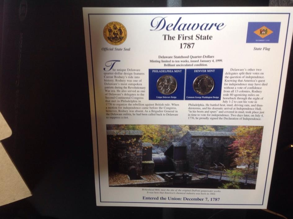 Delaware the first state 1787 statehood quarters and stamps on back