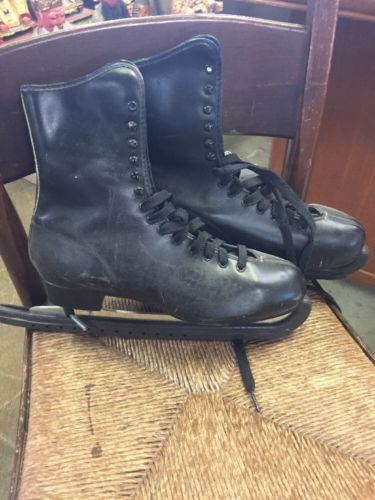 Men's Imperial Black Ice Skates Size 10 Hardened Tempered Blades Vintage Pair