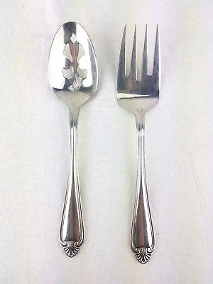 Pfaltzgraff BISCAYNE Stainless Steel Cold Meat Fork & Slotted Serving Spoon