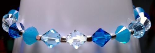 Women's Blue Bracelet Made With Swarovski Crystal & Sterling Silver *Ships Fast*