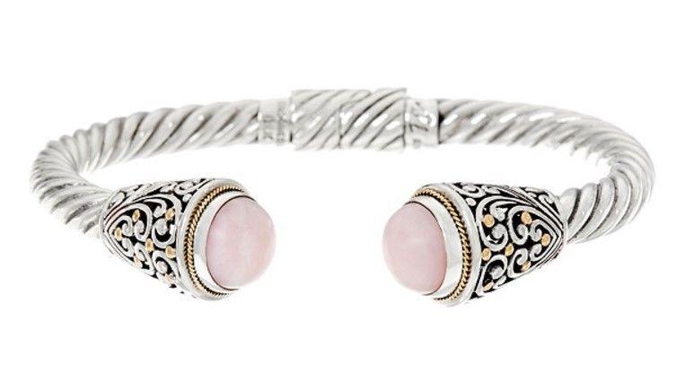 Sterling Silver &18K Gold Artisan Crafted Gemstone Cuff Bracelet