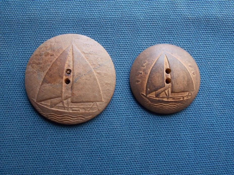 2  Vintage Wooden Carved Sailboat Buttons 1 5/16 & 1 11/16