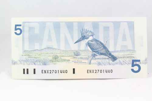 Canada 1986 $5 Bill Bank Note Replacement ENX Crow-Bouey Blue Back Plate GEM UNC