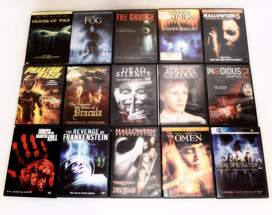 LOT OF 15 HORROR MOVIES ON DVDs HOUSE OF WAX FOG HALLOWEEN THE GRUDGE INSIDIOUS