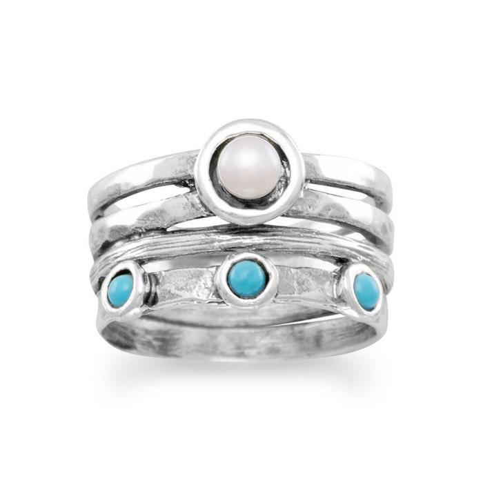 Wide Sterling Silver w/ Center Freshwater Pearl & 3 Turquoise Ring SZs 6-9