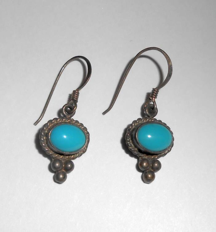 Older Vintage Turquoise Sterling Silver Dangle Earrings