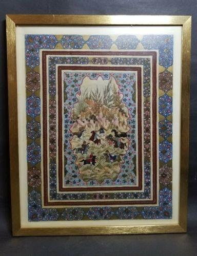 Large Antique Persian Polo Scene Painting on Celluloid