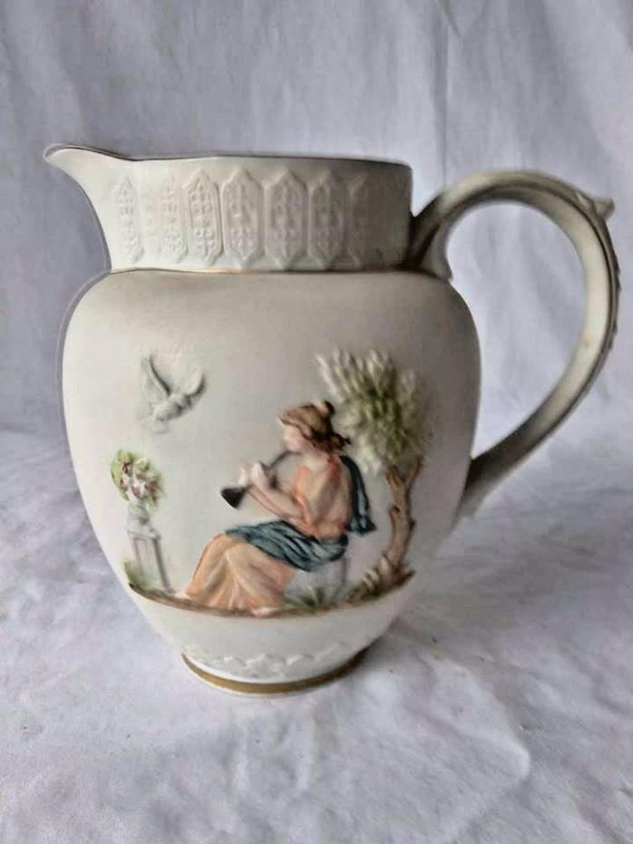 Pitcher Piper Flute Player  Athena in Garden Small ceramic Decor Collectible