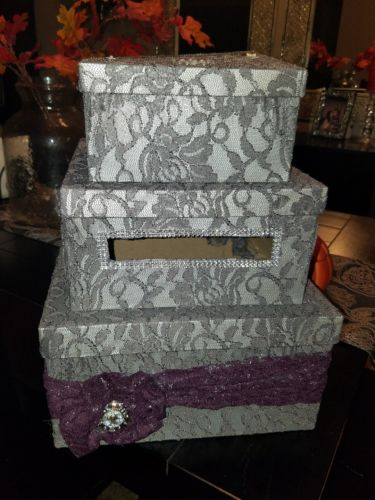 Euc! Wedding Card Box Purple and Gray Lace