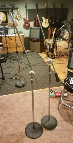 Pair Vintage Atlas Sound Mic Microphone Stands with Boom Arm Base Counterweights