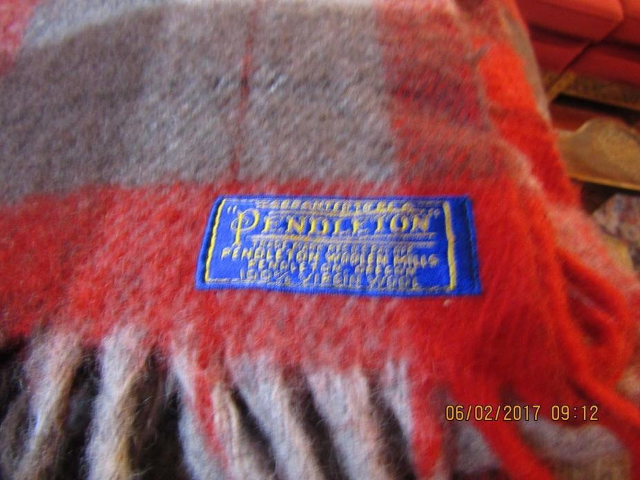 VTG 60s Pendleton Red/Black/Gray plaid wool fringe camp blanket throw 53