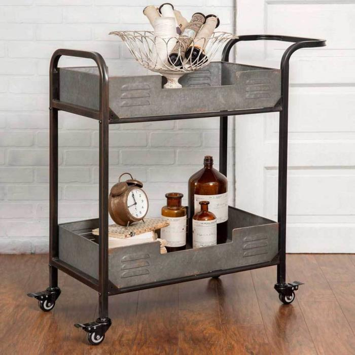 Farmhouse Galvanized Metal Rolling Serving Cart Storage Utility Portable Bar