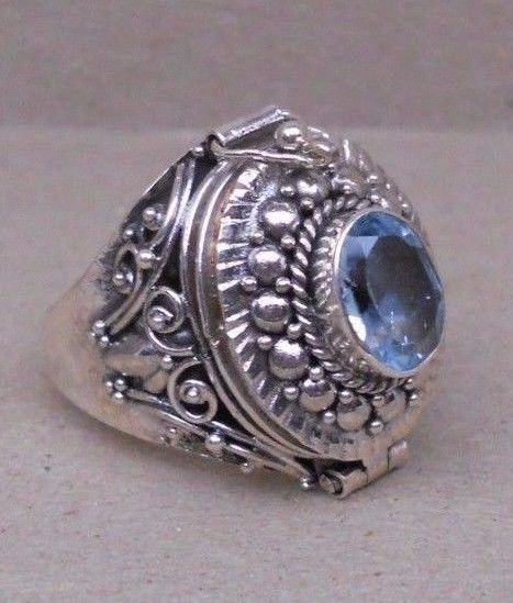 Handmade Sterling Silver Blue Topaz Poison---Keepsake--Cremation Ring Sz 6-7-8-9