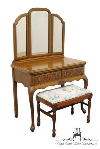 Antique 1920's French Regency Style Vanity w/ Mirror and Bench