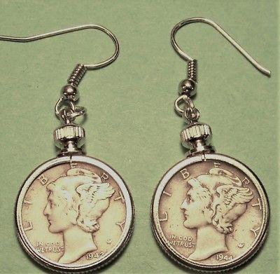 Mercury Dime Earring 1942 & 1944    90 % Silver  c49