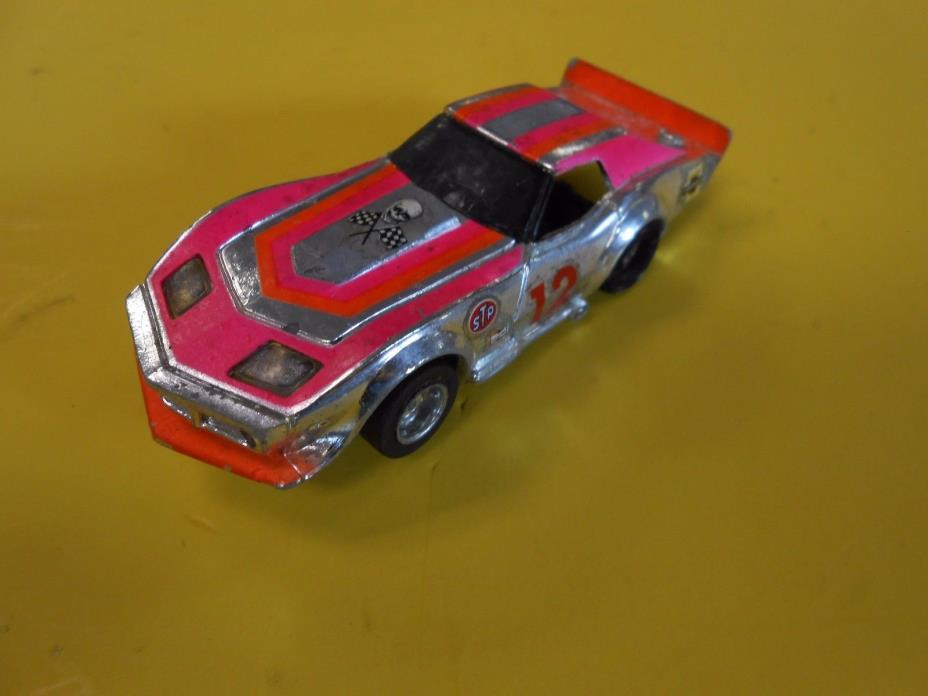 Vintage Tyco Chrome/Orange/Pink Racing GT Corvette Slot Car Racer