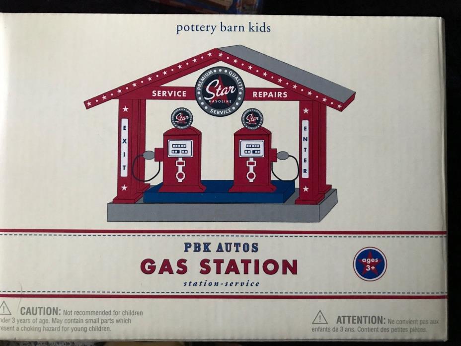 NIB Pottery Barn Kids Retro Wooden Train Gas Station Playset.BRIO/Thomas compat.