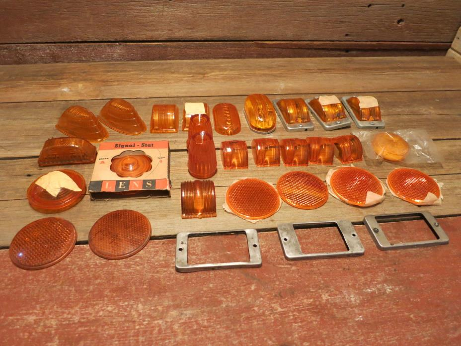 VINTAGE LARGE LOT CAR TRUCK LIGHT LENS INDUSTRIAL COVER CAR ORANGE YELLOW AMBER?