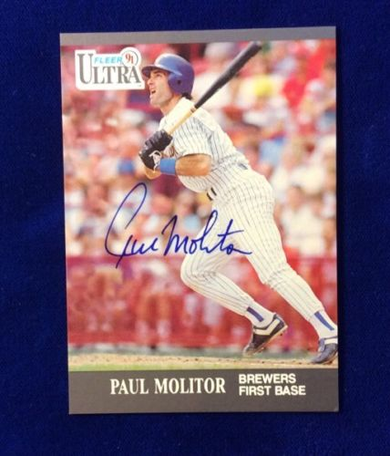 1991 Fleer Ultra Paul Molitor Autographed Baseball Card. Mil Brewers HOF, # 178