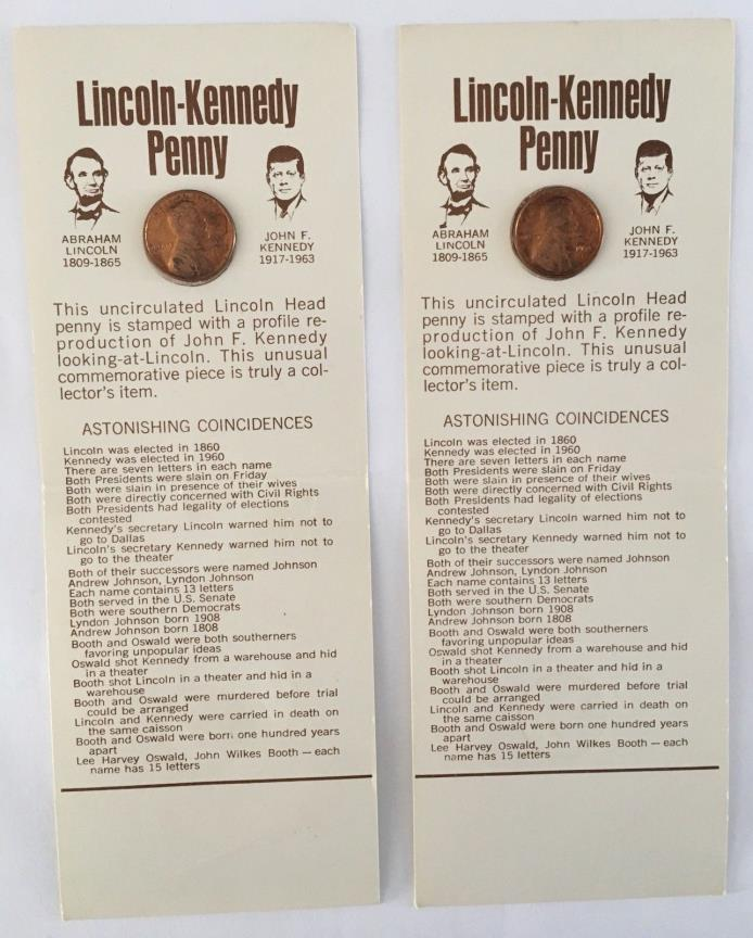 1973 D Lincoln Kennedy Cent Penny New On Original Collectors Cards