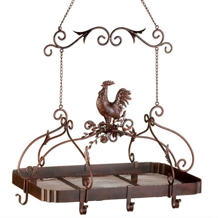 Rooster Iron Hanging Pot Rack Storage Rustic Metal Kitchen Farm Country Decor