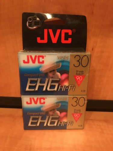 New JVC EHG Hi-Fi Compact VHS Camcorder Tape TC-30 SP 30 EP 90 Minutes -2 Pack-