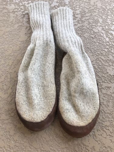L.L. Bean Slipper Socks Brown Leather Bottom With Aran Wool M(7.5-8.5) W(9-10)