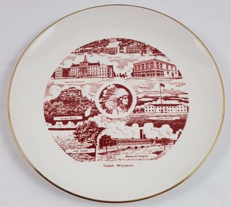 Gilded Rhythm Homer Laughlin USA W54N5 Plate, History Chief Tomah WIsconsin