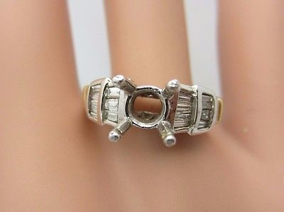 14K White Gold 0.50 CT Diamond Engagement Ring Semi Mounting for 1 CT