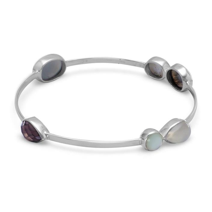 Labradorite, Mother of Pearl, Moonstone & Smoky Quartz Sterling Stackable Bangle