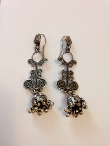 Rajasthan India Antique Bellydance Sterling Silver Earrings Boho Tribal