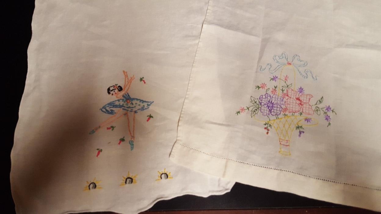 Vintage linen Towels Embroidered Ballet Dancer; Long Handled Basket W Flowers