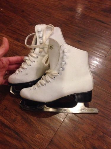 Girls white ice Figure skates size 2 black dragon.