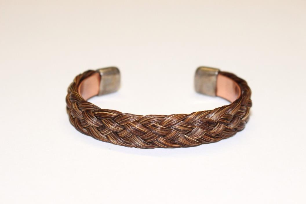 Authentic Real Horse Hair Sterling Silver Copper Made In USA Bracelet $125 Cuff!