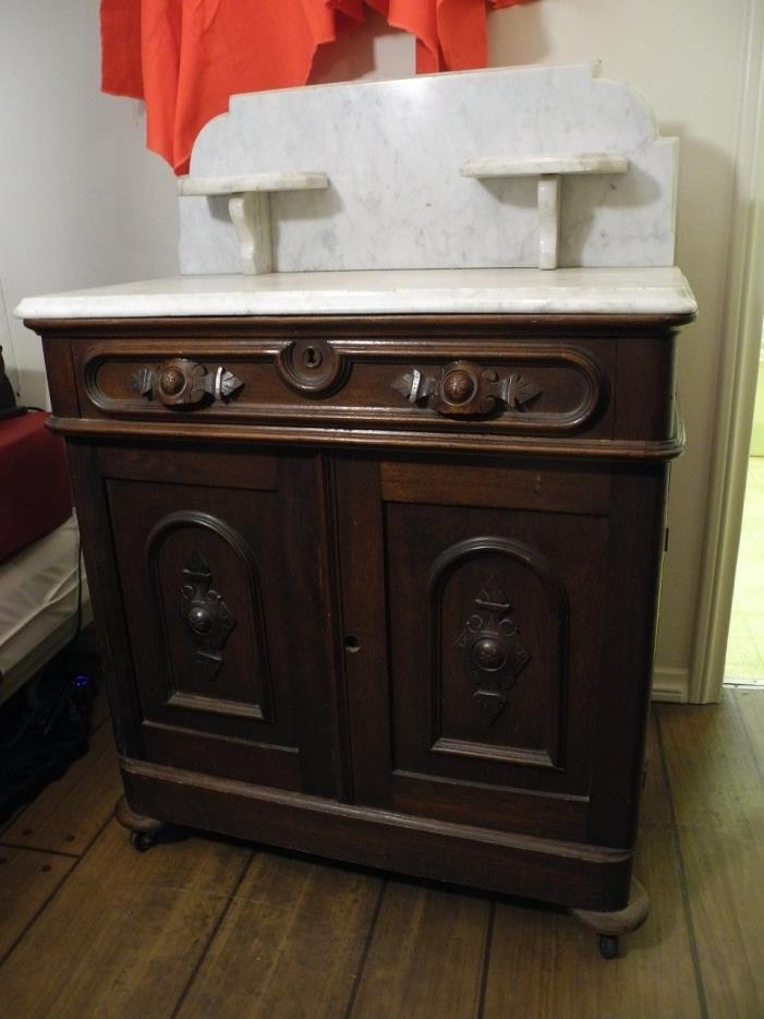 Victorian Antique WASH STAND Marble Top NIGHT STAND washstand