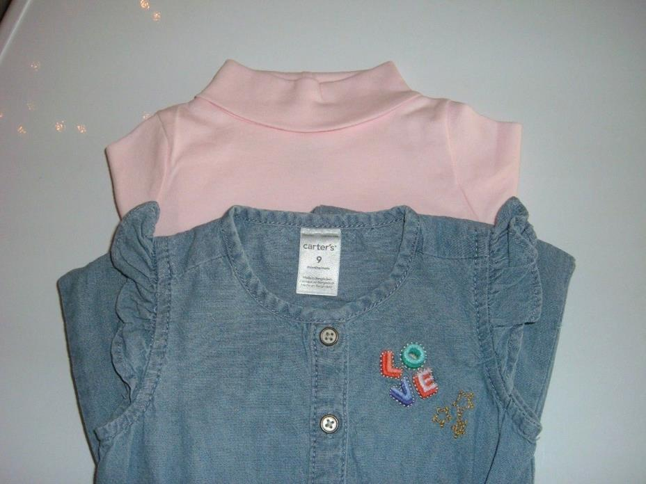 New Baby Clothes Chambray Jumpsuit and Turtleneck Top